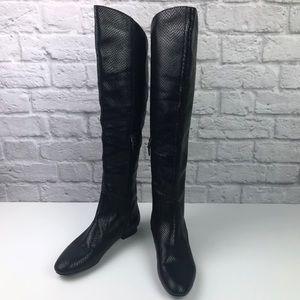 f90a615f50f Via Spiga Black Genuine Leather Knee High Boots 8